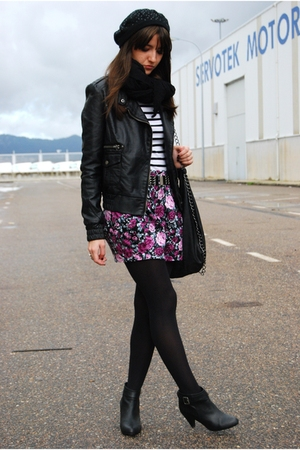 black BLANCO jacket - black H&M boots - pink BLANCO skirt - white Zara t-shirt -