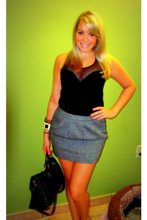gray Old Navy skirt - black American Apparel top - black loehmanns purse