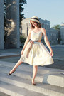 Light-yellow-cotton-h-m-dress-beige-straw-cloche-forever-21-hat