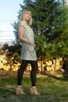 blue Unmarked dress - black Target tights - beige modcloth shoes - black adidas