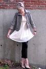 Gray-loft-jacket-pink-h-m-blouse-black-j-crew-pants-black-adidas-accessori