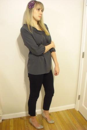 gray Zara blouse - black J Crew pants