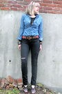 Blue-forever-21-blouse-black-gap-jeans-black-marshalls-t-shirt-red-h-m-bel