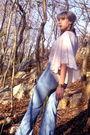 Pink-h-m-garden-collection-blouse-blue-dittos-jeans-beige-nine-west-shoes-