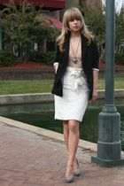 beige top - white Arden B skirt - black jacket - gray shoes