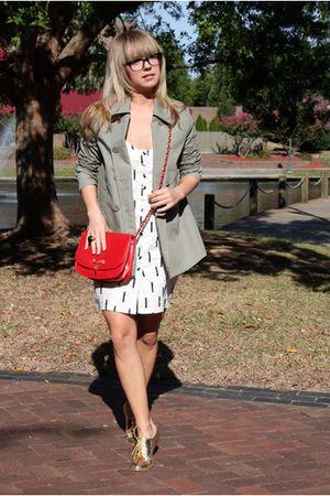 green Gap jacket - white Motel dress - red vintage bag - gold shoes