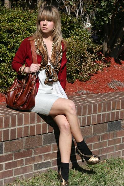 brick red Forever 21 cardigan - bronze vintage blouse - white Arden B dress - ta