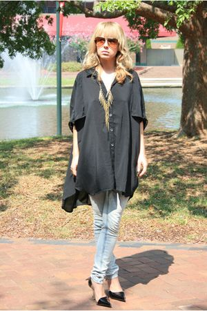 black Mink Pink blouse - gray free people jeans - black Arden B shoes