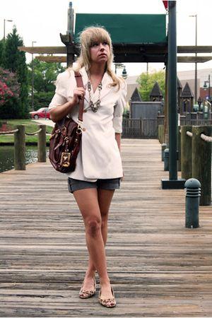 white vintage blazer - gray Forever 21 shorts - brown Prada bag - Charlotte Russ