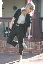 black blazer - silver Haines top - black vintage pants - gold shoes