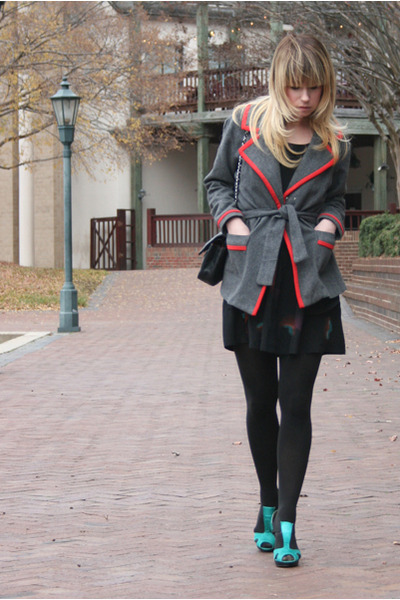 aquamarine shoes - black Urban Outfitters dress - gray vintage coat