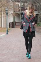 aquamarine shoes - black Urban Outfitters dress - gray vintage coat