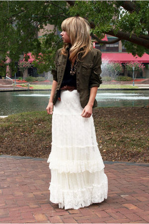 blue Arden B vest - green vintage jacket - white Jessica McClintock skirt