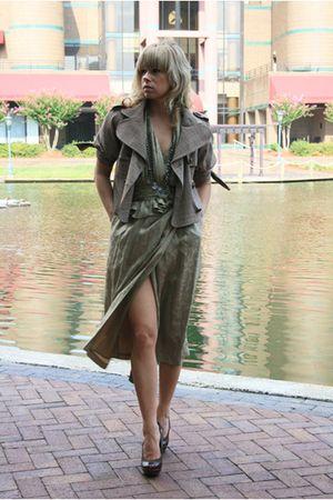 brown Arden B jacket - brown vintage dress - shoes