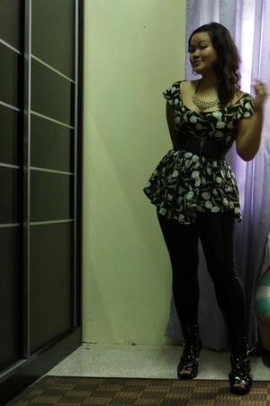 black dress - black leggings - black shoes - gold accessories