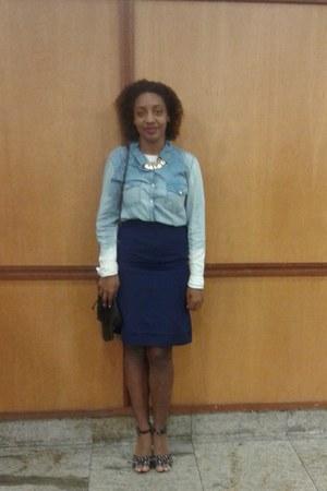 sky blue Leader shirt - crimson bag - black c&a sandals - navy skirt