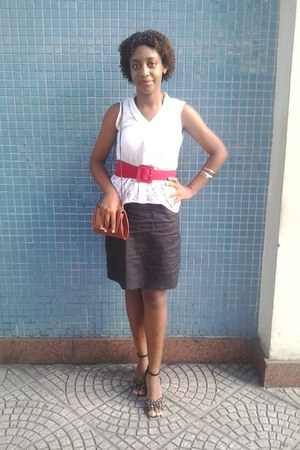 black skirt - tawny bag - red belt - white top - silver Mopi Biju bracelet