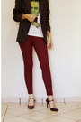 Maroon-burgundy-leggings-tweed-blazer-green-printed-chico-rei-shirt