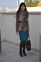green Mango skirt - beige Zara vest - brown Office shoes