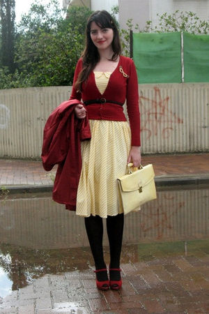 yellow Atmosphere dress - red Nine West shoes - red flea market coat