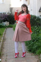 orange asos shoes - pink thrift skirt - gold vintage accessories