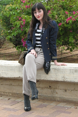 beige Zara pants - blue thriffed jacket - beige asos purse - black Ebay shirt -