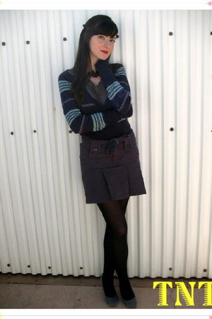 blue cardigan - blue skirt