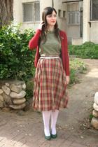 red cardigan - red skirt - green top