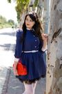 Blue-thrift-dress-red-ebay-purse-black-ebay-skirt