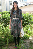 green thrift dress - pink M&S shoes