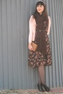 Pink-lilygrace-jacket-black-asos-shoes-black-thriffed-dress-beige-thriffed