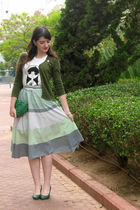 white Marc Jacobs shirt - blue vintage skirt - green Medusa purse