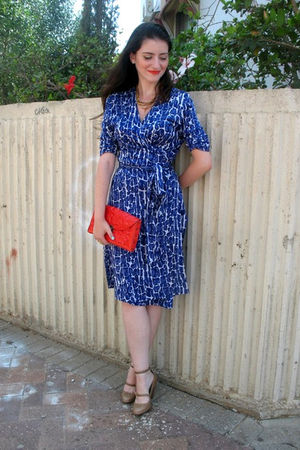 orange Medusa bag - beige DKNY shoes - blue Diane Von Furstenberg dress