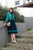 blue thrift dress - gold ferragamo shoes - beige Mango purse