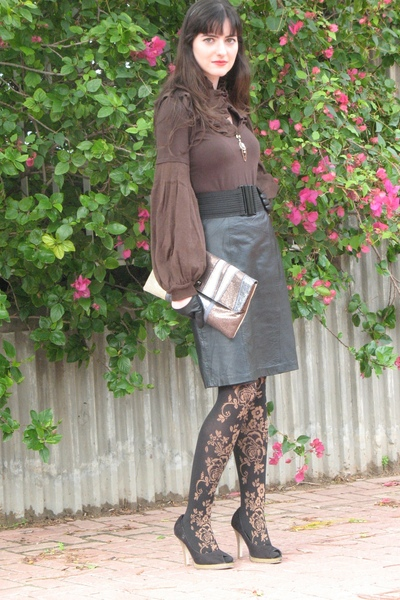 brown blouse - black thriffed skirt