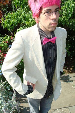 pink tie - black calvin klein shirt - gray calvin klein jeans - white vintage bl