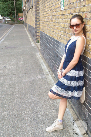 navy skater asos dress - dark brown leopard print ray-ban sunglasses