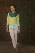 DIY boots - Seyo jeans - shirt - scarf - vintage blouse