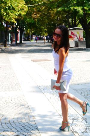 white peplum asos dress - off white asos purse - light blue Miss Sixty heels