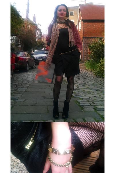 black asos boots - black Vero Moda dress - camel Dorothy Perkins scarf