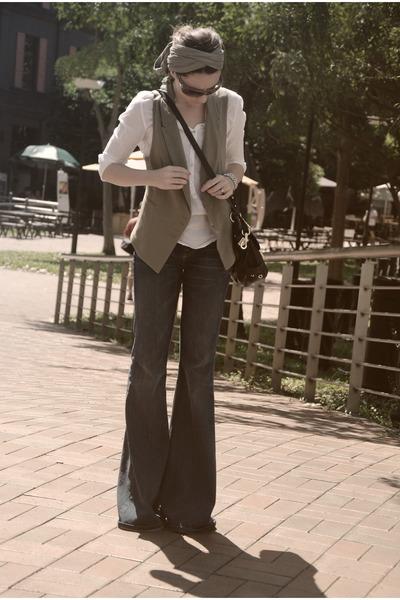 bell bottoms 7 for all mankind jeans - Zara shirt - Zara vest