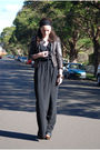 Black-fleur-wood-dress-brown-dotti-jacket-black-zara-shoes