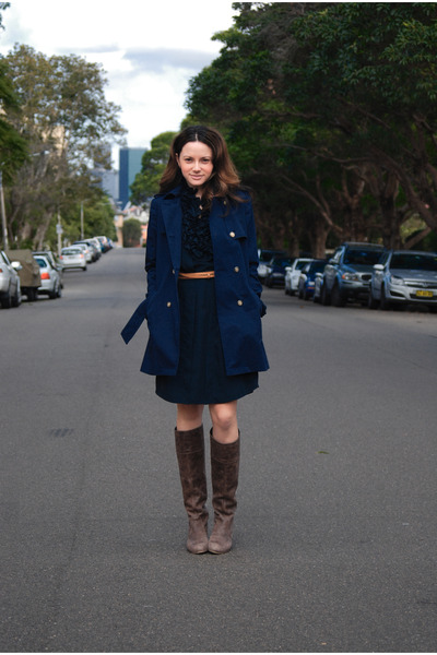 blue Zara dress - blue Zara jacket - brown Steve Madden boots