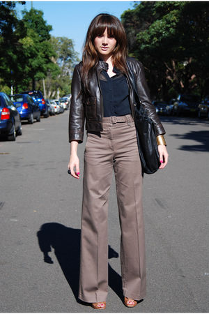 brown H&amp;M pants - black Cue blouse - brown Dotti jacket