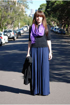 blue picinic dress - black Cue top - black Very Very jacket - purple scarf