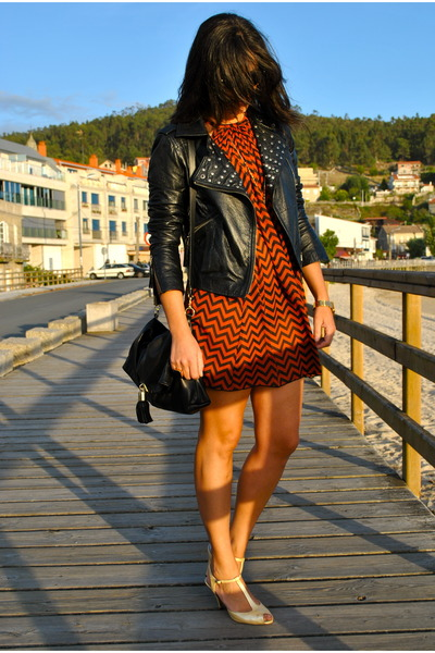 black leather jacket black jacket - orange dress Orange dress