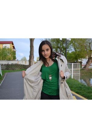 black H&M jeans - beige LC Waikiki jacket - dark green H&M blouse