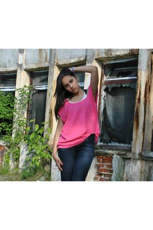 peach H&M t-shirt - camaieu jeans - bubble gum H&M blouse