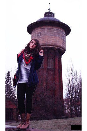 vagabond boots - striped hm dress - dark blue hm jacket - folklore lindex scarf