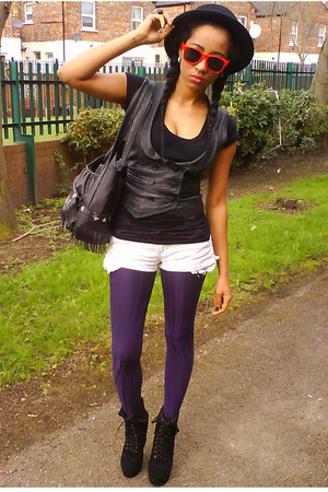 black Ebay boots - black Claires hat - deep purple H&M tights - white DIY shorts